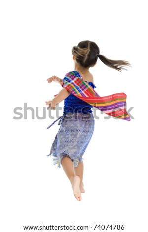 cute girl taking an action turn, isolated on white background - stock photo