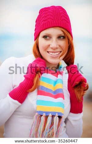 Cute girl wearing winter clothing - stock photo