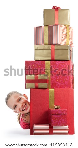 Cute girl with a bunch of presents - stock photo
