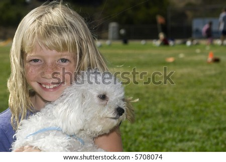 Cute Girl with Best friend - stock photo