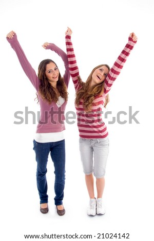 cute girls enjoying happiest movement against white background - stock photo