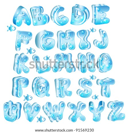 Cute glossy blue alphabet with drops and fish - stock photo