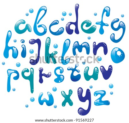 Cute glossy blue water alphabet - stock photo