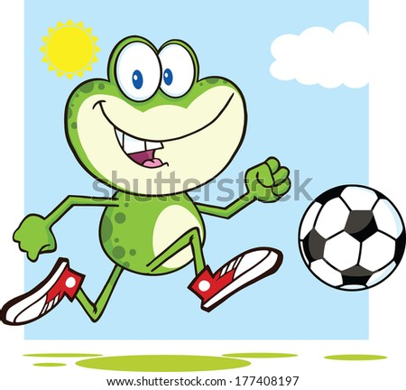 Cute Green Frog Cartoon Mascot Character Playing With Soccer Ball. Raster Illustration Isolated on white - stock photo