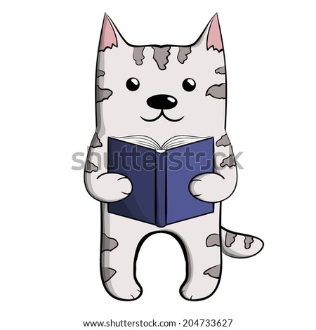 Cute grey reading cat with blue book - stock photo