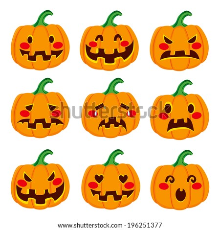 Cute Halloween pumpkin decoration making nine different funny face expressions - stock photo