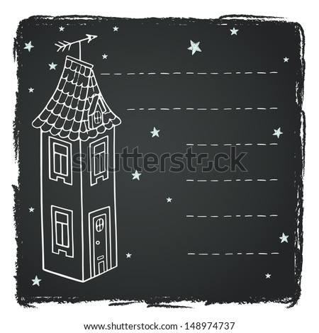 Cute hand drawn childish card or invitation template with cartoon house and stars on chalkboard background. - stock photo