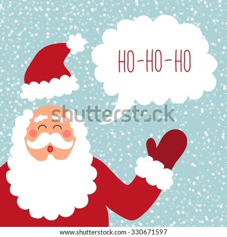 Cute hand drawn Santa with speech bubble and hand written text HO-HO-HO - stock photo