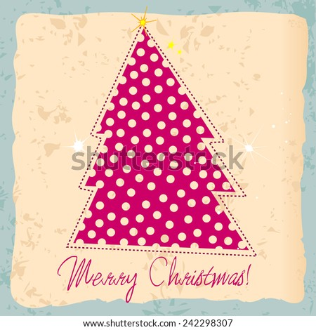 Cute hand drawn style Christmas greeting card with tree - stock photo