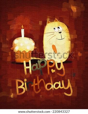 Cute happy birthday card.  - stock photo