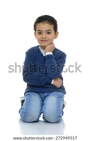 Cute Happy Boy Isolated on White Background - stock photo