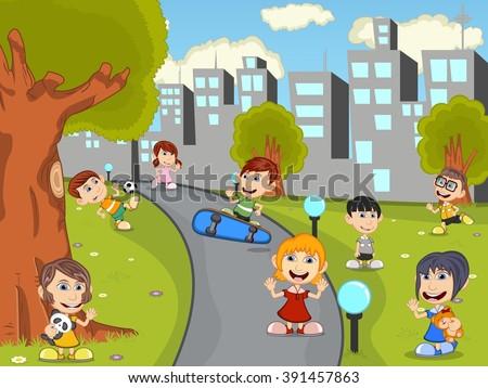 Cute happy cartoon kids playing in green park cartoon - stock photo
