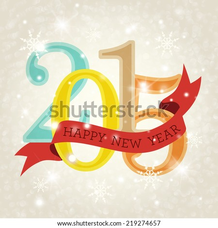 Cute Happy New Year 2015 greeting card. Holiday design. Party poster, greeting card, banner or invitation. - stock photo