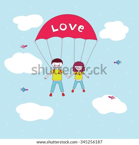 cute happy young couple hold hands and jumping with a parachute.  - stock photo