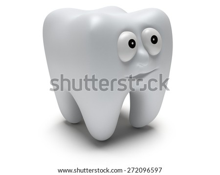 Cute healthy tooth with funny face isolated on white background. 3D render. Dental, medicine, healthcare concept. - stock photo