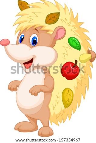 Cute hedgehog cartoon - stock photo