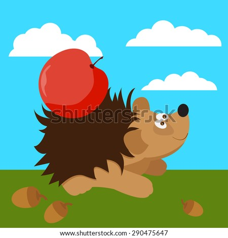 cute hedgehog with apple. Funny cartoon bright colored illustration for use in design for card, invitation, poster, banner, placard or billboard cover. Raster copy - stock photo