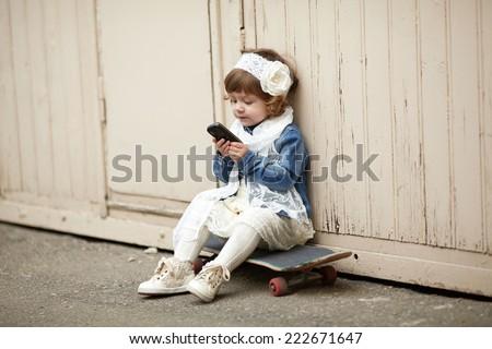 cute hipster girl urban portrait - stock photo