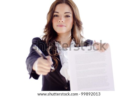 Cute hispanic business woman requesting signature of contract - stock photo
