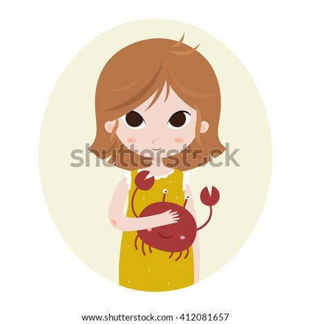 Cute horoscope. Zodiac signs. Cancer. Series of cartoon zodiac characters. Horoscope for kids or teens, template for card, invitation, calendar or etc. Raster. - stock photo
