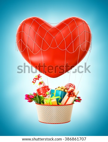 Cute hot air balloon with a basket full of gifts and sweets. Unusual Valentines day illustration. - stock photo