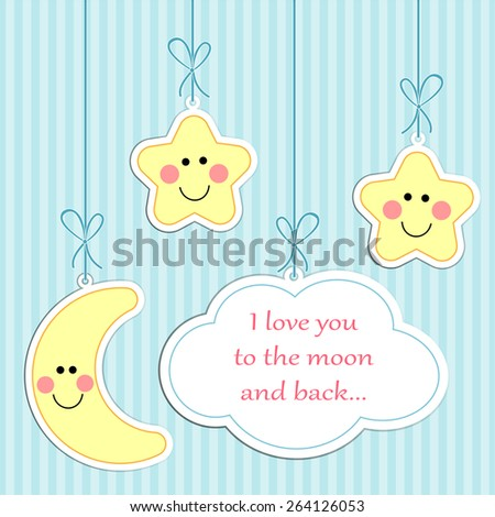 "Cute ""I love you to the moon and back"" retro card - stock photo"