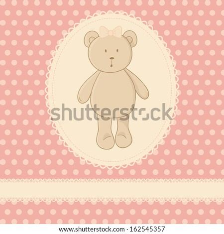Cute illustration. Little toy teddy bear, white lace, pink background with polka dot. Ideal for baby shower invitation card, girls birthday card, etc. - stock photo