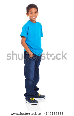 cute indian boy standing isolated on white background - stock photo