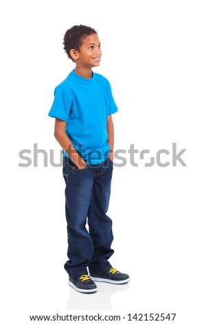 cute indian little boy looking up isolated over white background - stock photo