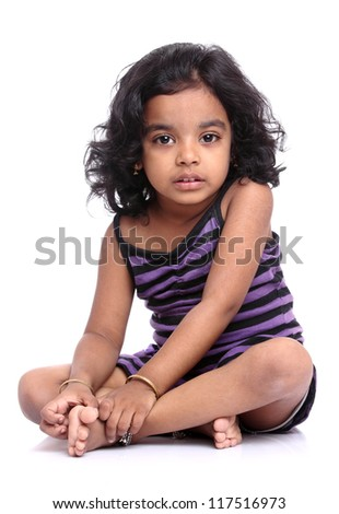 Cute Indian little girl portrait. - stock photo