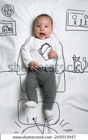 Cute infant baby boy eating sandwich and watching tv sketch - stock photo