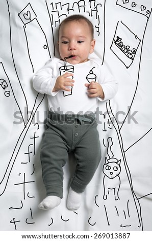 Cute infant baby boy walking with ice cream and soda in the city sketch - stock photo