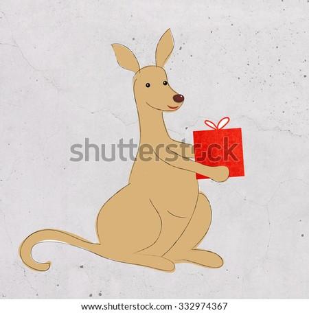 cute kangaroo - stock photo
