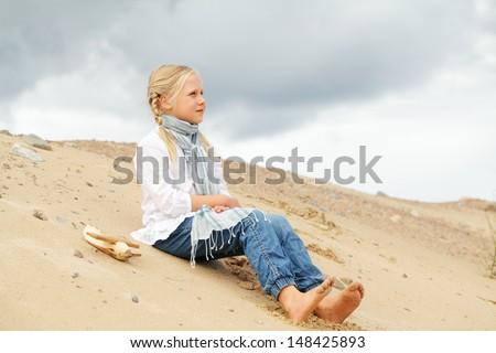 Cute kid outdoor - stock photo