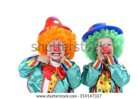cute kids clowns - stock photo