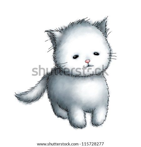 cute kitten on white background - stock photo