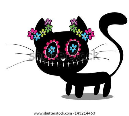 Cute kitten with flowers, sugar skull painted, Day of the Dead concept, Dia de los Muertos - stock photo
