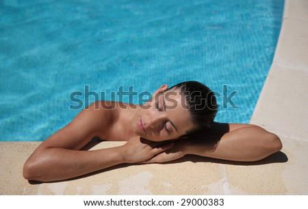Cute lady holding sitting spa resort - stock photo