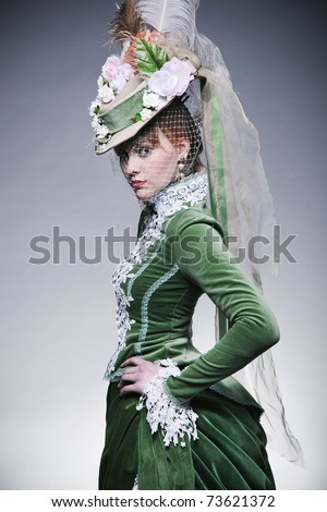 Cute lady wearing retro clothes - stock photo