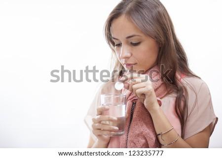 Cute latin woman feeling unwell - stock photo
