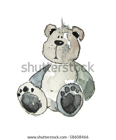 Cute littel teddy bear watercolour illustration. Art is painted and created by photographer. - stock photo