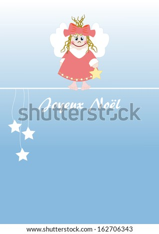 Cute little angel french text: Merry Christmas - stock photo