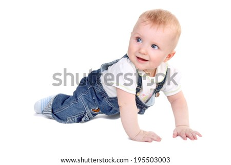 cute little baby creeping and smiling isolated on white - stock photo
