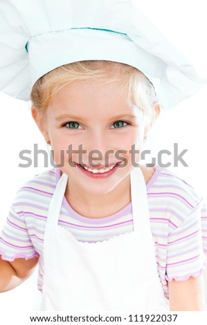 cute little baby dressed as a cook - stock photo