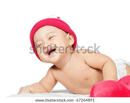 Cute little baby laughing - stock photo