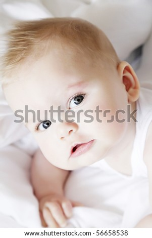 cute little baby, six months old - stock photo