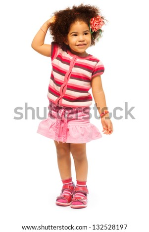 Cute little black girl with fuzzy hair full length portrait with hands close to head, isolated on white - stock photo