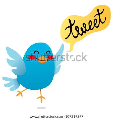 Cute little blue bird tweet cartoon illustration - stock photo