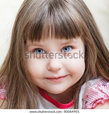 cute little blue-eyed girl portrait, close up - stock photo