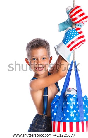 Cute little boxer boy wearing a boxer gloves. Isolated on a white backgrownd - stock photo